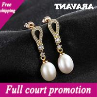 925 goutte d'eau en argent sterling pour femmes pavée or zircon naturel perle boucles d'oreilles mariage bijoux cadeaux