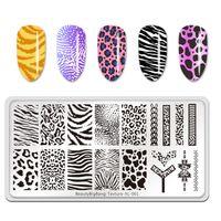 Skönhet Big Bang Animal Image Nail Art Mall Tiger Zebra Leopard Skriv ut Textur XL-001 Rostfritt Stål Mögelplattor