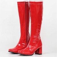 jialuowei Woman gogo Boots Square Heel Knee-High Classic Toe PU Leather Zip unisex Party Dress Dance Shoes 211021