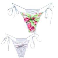 Zweiteilige Anzüge Sommer Frau Bogen Bikini Boden Niedrige Taille Stämme für Mädchen Schwimmen Badeanzug Biquini Brazilian Sexy Swimwear Rosa Grün Tanga