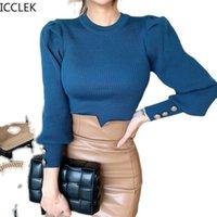 Icclek Herbst Frauen Winter Neue koreanische stil Slim Temperament Rundhals Strick All Match Botting Pullover Top