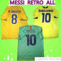 2010 2011 Grün Away Messi Jersey 2009 2009 Retro Fussball Ronaldo 1996 1997 Henry 2005 2006 Ronaldinho Classic Vintage Football Hemd Top Uniform