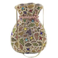 Shoulder Bags Yellow Blue Red Multicolored Rhinestone Crystal Vase Shape Women Evening Clutches Handbags Party Purse Ladies Small Prom