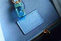 السيدات الأزرق onthego حمل حقيبة زهرة M45718 عارضة الصيف حقائب جلدية الكتف المرأة حقائب اليد المحافظ حقيبة التسوق مع سحر pochette
