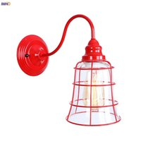 Wall Lamps IWHD Red Iron Metal LED Lamp Beside Living Room Glass Loft Industrial Vintage Light Sconce Wandlamp Home Lighting