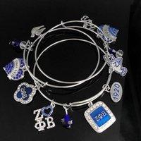 Charm Bracelets Handmade Greek Sorority Blue Crystal Letter 1920 Zeta Phi Beta Handsigh Heart Lucky Clover Adjustable Bangles Bracelet
