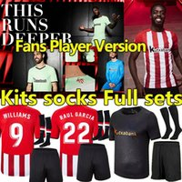 2021 2022 Bilbao Soccer Jerseys Fans Athletic Version Player Version Raul Garcia I.Martinez Williams Chemise de football Yuri B Muniain Villalibre Men Kit Kit Kit Camiseta de Jersey