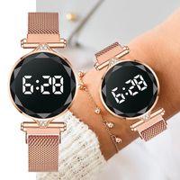 Wristwatches Luxury LED Watch Women Magnetic Bracelet Watches Rose Gold Digital Dress Quartz Women's Ladies Clock Relogio Feminino