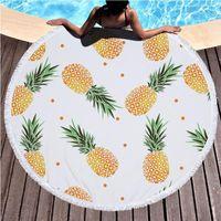Big Round Beach Serviette 3D Ananas Style d'impression Beach Châle Serviettes de bain 100% coton Hippie Yoga Jeton Tapis Sandy Natation Serviette NHE6925