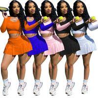 2021 Womens Trainingsanzüge Zwei Peica Set Designer Tennis Slim Sexy Frühling Fall Yoga Sportkleidung Langarm Crop Top Shorts Rock Jogginganzug 088