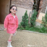 2021 autumn children designer clothing set cute kids plaid lapel long sleeve jacket + mini skirt jeans outfits leisure girls casual Outfits 0S1448