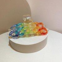 Hair Accessories Tie Dye Rainbow Chain Plastic Claw Pin Girls Women Clip