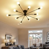 Chandeliers Retro Iron Chandelier Black White 6 8 10 Sockets Lighting Vintage Spider Modern Ceiling Lamp Light Fixture