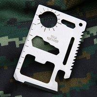 11 1多機能カードナイフオープナー緊急サバイバルナイフミニマルチツールステンレス鋼屋外の生存カード薄型ツールPUバッグ包装