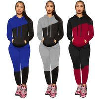 black sweatsuits 5929 Women tracksuits Fall winter Clothes long sleeve outfits hooded hoodie+sweat pants two Piece Set Plus size 2XL Casual