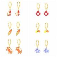 Hoop & Huggie CANNER Enamel Earrings For Women 925 Sterling Silver Ocean Prawn Crab Octopus Lemon Surfboard Hoops Pendiente Jewelry