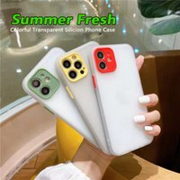Summer fresh transparent Soft Silicion phone cases for iphone iphone 12 11 pro max cases iphone mini xr xs max 7 8 color phone case lens camera phone protection case