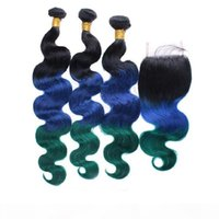 Human Hair The Theft 1b Bleu Green Cheveux Bundles avec fermeture en dentelle Fermeture Body Racine Dark Root Bundles 3pcs avec fermeture en dentelle 4x4