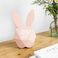 Mini Pembe Tavşan Çalar Saat Çocuk Elektronik Gündoğumu İzle Masa Hayvan Karikatür Çocuk Odası Sevimli