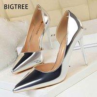Dress Shoes Sexy Woman Pumps Patent Leather High Heels Plus Size 43 Women 2021 Stiletto Ladies Wedding