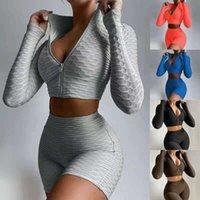 Trajes de verano para mujer Trajes de yoga Camiseta de manga corta + Pantalones cortos Color sólido de 2 piezas JOGGER Sets Gym Ropa más Tamaño 8506