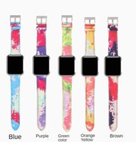 Luxury Canvas Leather Straps For Apple Watch band 44mm 42mm 40mm 38mm Printed Watercolor Wristbands Iwatch Series SE 6 5 4 Bracelet Watchbands Smart Accessories