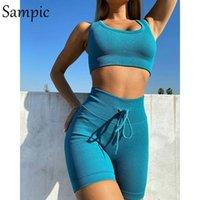 Shorts de chándal de verano sexy Sampic Set 2021 Sport Sport Skinny Knit Tops y Mini Biker Traje de cinturón de dos piezas Trajes de mujer