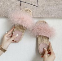 Slippers Women Summer Beach Flat Shoes Woman Slides Outdoor Crystal Fur Feather Flatform Sandalias Mujer Sapato Feminino N221