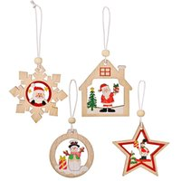 12PCS Set Christmas Decoration Santa Snowman Snowflake Wooden Pendants New Year Xmas Tree Hanging Ornaments XBJK2110