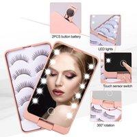 Dame faltende LED-Make-up-Spiegel mit Lashe-Tablett 5 Paare / Set falsche Wimpern-Verpackungsbox Touch-Sensor 12 Beleuchtet Kosmetikspiegelkasten für Make-up