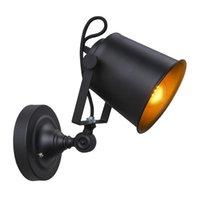 Loft Retro Wandlampen Matte Black Iron Shade Adjustable Reading Wall Lamps E27 Lights For Workroom Bedroom Bar Cafe Lamp