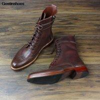 Botas Genuine Leather Sole Brogue Homens Goodyear Cavalheiro personalizado