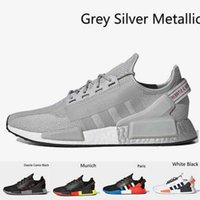 Nmd R1 Boost V2 Mens Running Shoes Black Grey Gradient Neon Aqua Tones Mexico City Munich Olive Oreo Sports Outdoor Sneakers