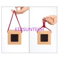 Gift Wrap 100Pcs Lot Tea Packaging Kraft Paper Box With Portable Rope,Clear Window For Packing