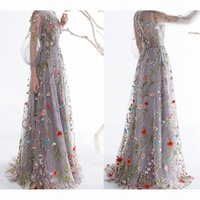 Dobelove Women's Long Sleeves Prom Dresses 2019 Trendy Floral Embroidery A-line Evening Dresses Formal Party Gowns Pageant Dress