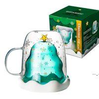 Cute Christmas Tree Mug Double Wall Glass Coffee Cups with Silocone Lid Snowflake Star Xmas Gift Wine Tea Milk Water Tumbler BWD6001
