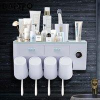 Conjunto acessório de banho Baispo Automático Discoteca Dispensador Squeezer Estrutura de Armazenamento de Parede Titular de escova com Cup Acessórios de Banheiro
