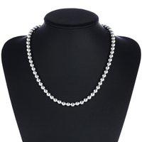 925 prata esterlina 4mm / 8mm / 10mm beads liso esfera colar de cadeia para mulheres na moda casamento noivado jóias drop frete 1577 v2