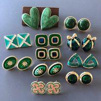 Stud Mini Handmade Enamel Glaze Earrings Green Geometric Shape Cup Needle For Women