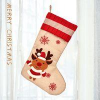 18.8 дюймов Большие рождественские чулки Burlap Canvas Santa Snowman оленей манжеты семейные пакеты чулки подарочные сумки для Xmas Holiday Decor GWA7367