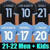 21 22 SS Lazio Soccer Jersey الثالث الأسود Luis Alberto J.Correa Divale 2021 2022 Maglie da Calcio سيرجج Lazzari Marusic Vedat Muriqi Men Kids Kit