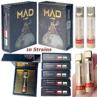 Mad Labs Tape Cartridges Упаковка распылитель 0,8 мл керамический катушка толщиной толщиной 10 штаммов бак DAB VAPES ручка воскоп-испаритель нефтяные тележки E сигарета 510 нить пустой оптом