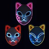 Demon Slayer Fox Mask Halloween Party Japanese Anime Cosplay Costume LED Masks Festival Favor Props