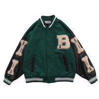 Männer Jacken Unisex Mode Übergroße Hip Hop Varsity Baseball Jacke Lederhülle Hi Street Lose Fit Letterman Mantel Oberbekleidung für Couple