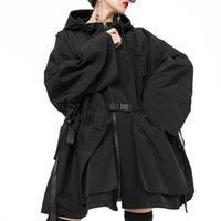 Женская траншея пальто YSBFALNZ 2021 Мода Корейский Осенний Женская Свободная уличная Одежда Женская Длинная Пальто с капюшоном Негабаритная Ветровка Повседневная одежда