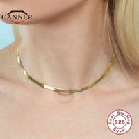 CANNER 925 Sterling Silver Choker Female Clavicle Chain Flat Snake Necklace for Women Jewelry collares
