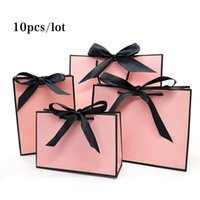 Gift Wrap Pretty Pink Kraft Bag Gold Present Box For Pajamas Clothes Books Packaging Handle Paper Bags