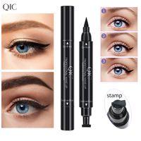 QUIC Double tête Double Eye-liner Fast Dry Sèches Noir Souffle Tampon Étanche Étanche Long Duritant Maquillage Liquide Cosmétique Beauté Crayon 0806