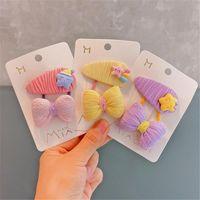 Hair Accessories 5set Lot Kids Clips Rope Fashion Girls Cartoon Rainbow Star BB Hairpins Cute Bow Ring
