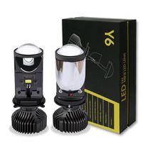 Araba Farlar 1 Pair H4 Y6 Otomobil LED Far Mini Lens 12 V 6000 K Uzak ve Yakın Entegre Balıkgözü Motosiklet